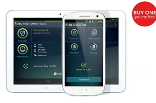 Two for One: AVG AntiVirus PRO for Android Smartphones and Tablets License for R74 with AVG South Africa (77% Off)