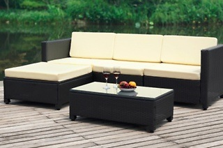 Marcella Five-Piece Rattan Patio Sectional Living Sofa Set for R5 299 Including Delivery (59% Off)