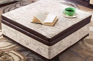 Hazlo Leatherette Coffee Table Storage Ottoman - Newspaper Print for R1 599 Including Delivery (43% Off)