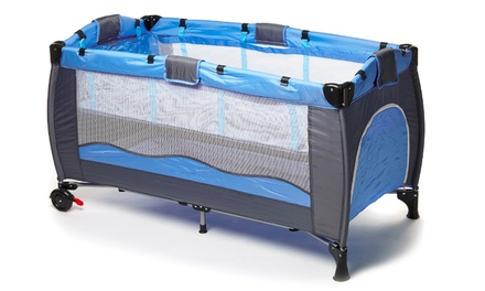 Two-Level Folding Baby Cot with Diaper Changer and Wheels for R1 099 Including Delivery (27% Off)