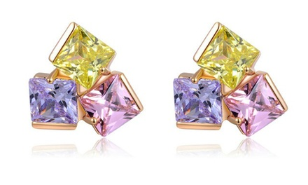 Multi Colour Princess-Cut Austrian Cubic Zirconia Crystal Earrings for R229 Including Delivery (43% Off)