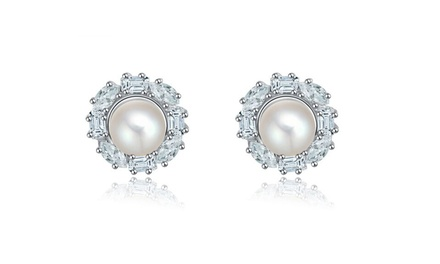 Pearl Earring with Clear Cubic Zirconia for R229 Including Delivery (43% Off)