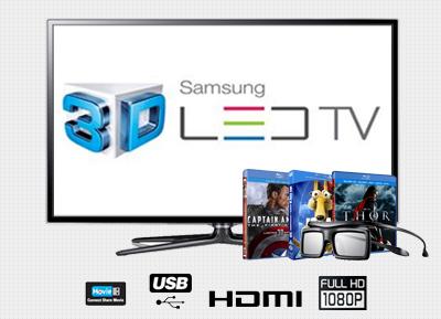 """SAMSUNG - 50"""" 3D Full HD Smart LED TV + 3 DVD Titles & 3D Glasses"""