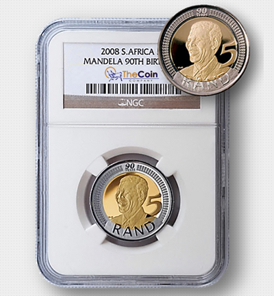 2008 Nelson Mandela 90th Birthday Coin MS66