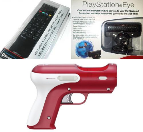 PS3 Blu-Ray Remote + PS Eye + Move Gun Attachment