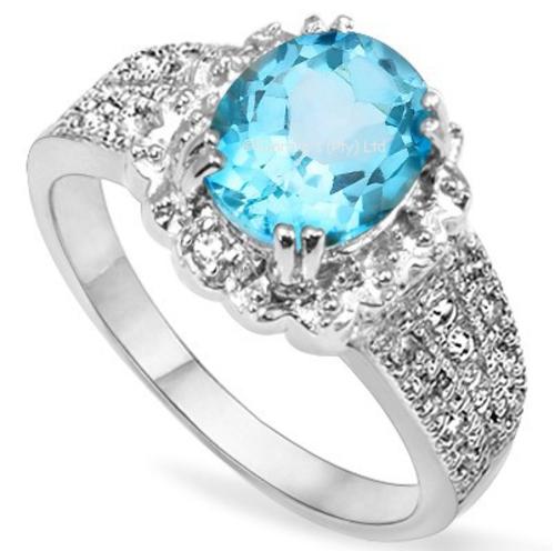 Exquisite 2.11ct Genuine Topaz and Diamond Ring