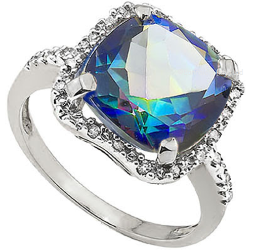 Magnificant 3.84cts Blue Mystic Topaz & Diamond Ring