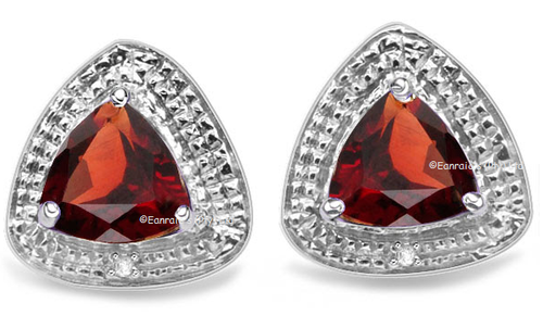 Spectacular 3.10cts Genuine Garnet and Diamond Earrings