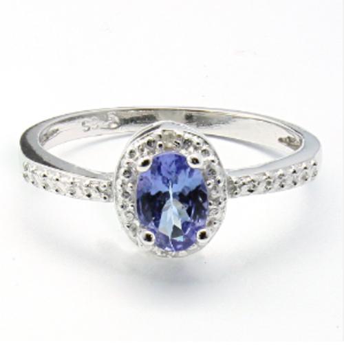 0.42cts Genuine Tanzanite and Diamond Ring