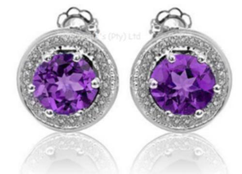 Genuine Amethyst and Diamond Earrings