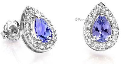 0.72cts Genuine Tanzanite and Diamond Earrings