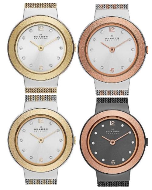 SKAGEN Denmark Ultra Slim Crystal Accented Two Tone Ladies Watch