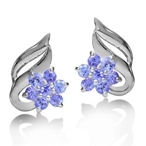 0.560ct Genuine Tanzanite 925 Sterling Silver Flower Earrings