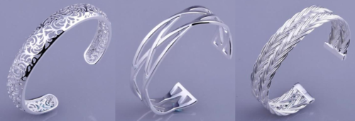 Sterling Silver Filled Open Cuff Bangles | 7 to choose from