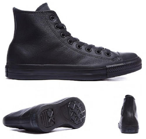 Mens Converse All Star Black Mono Leather