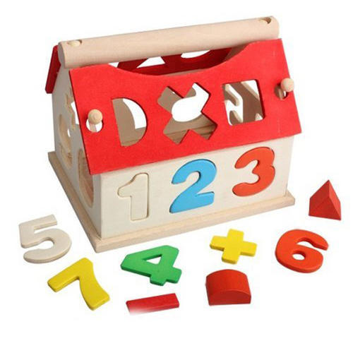 Wooden Digital Number House Educational Intellectual Block / Sorter