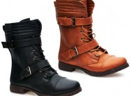 Ladies in House Two Buckle Lace up Boots (FC295)