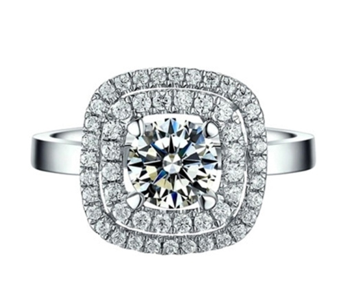 925 Sterling Silver Princess Pave Ring