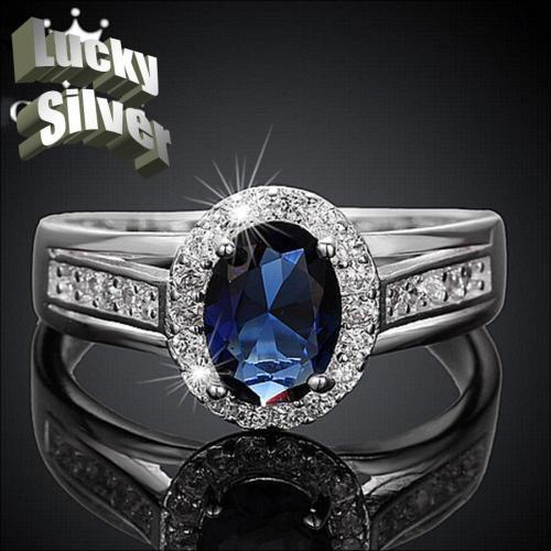 SILVER DESIGNER SAPPHIRE RING SIZE 7 and 8
