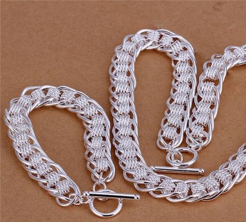 Sterling Silver Filled Meshed Necklace and Bracelet Set