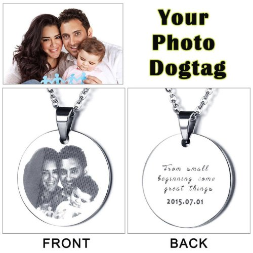 Laser Engraved Men's Photo Tag Choice of 2 Designs and Free Inscription Engraving