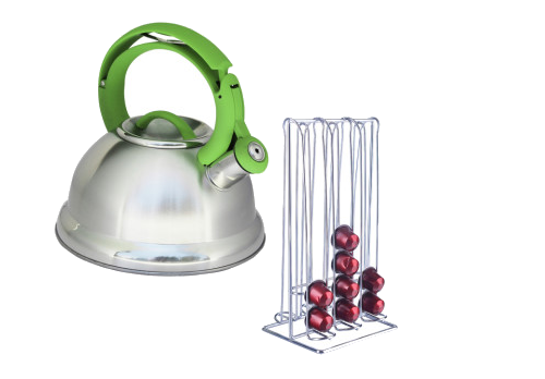 Whistling Kettle and Coffee Capsule Holder Combo
