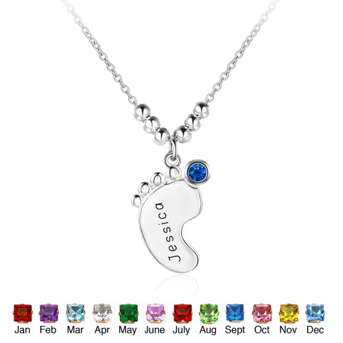 Personalized Sterling Silver Birthstone Necklace