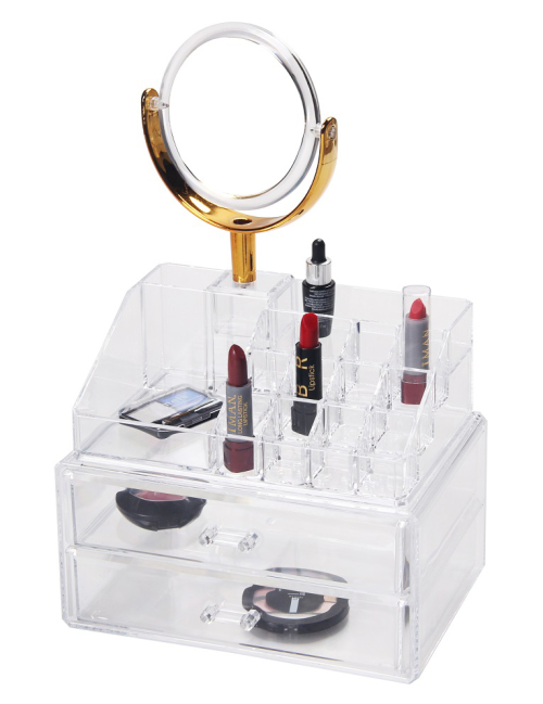 Cosmetic Display Holder with Mirror