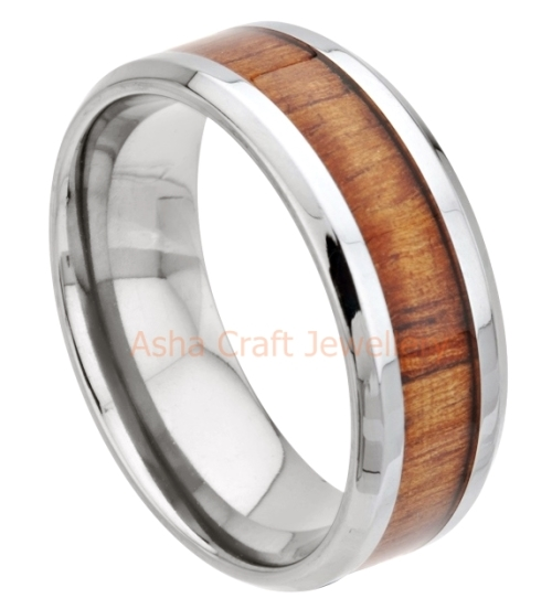 Wood Inspired Inlay Stainless Steel Ring Size 10 / T+ / 19.8mm