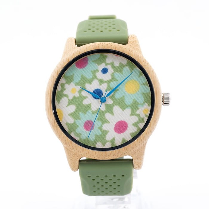 Bobo Bird Green Floral Bamboo Watch