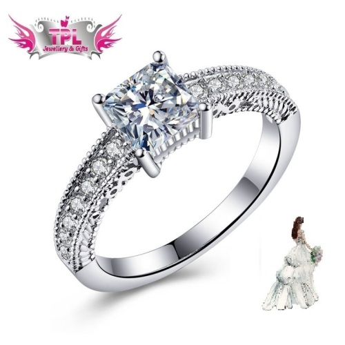 White Gold Plated Simulated Diamond Ring