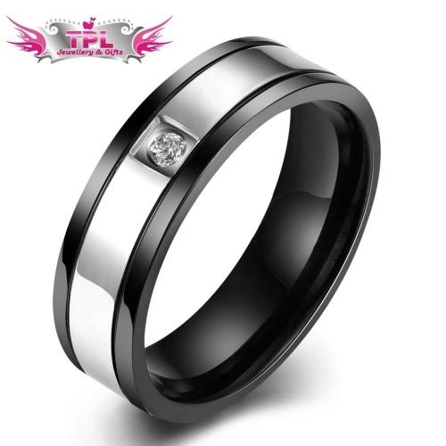 Men's Titanium Steel Zircon Ring