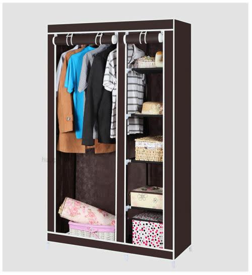 Double Canvas Wardrobe with Hanging Rail