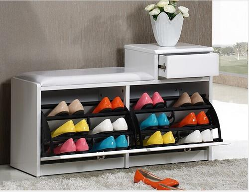 Wooden Storage Shoes Rack With Chair Seat and Drawer