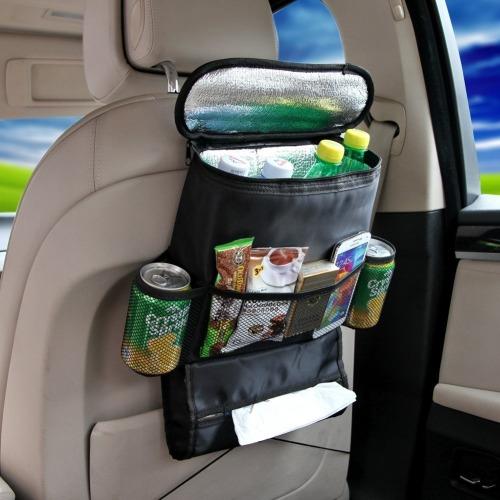 Car Back Seat Organizer with Cooler Bag Black