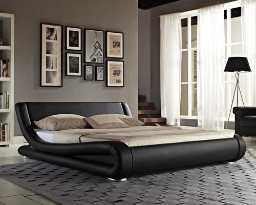 Hazlo Gabriela Modern Curve Style Faux Leather Bed Base
