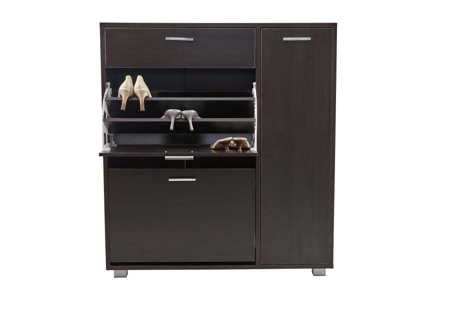 Hazlo Storage Cabinet with Fold-Out Shoe Rack and Drawer