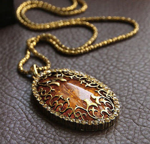 Oval Amber Hollow Rhinestone Long Chain Pendant Necklace