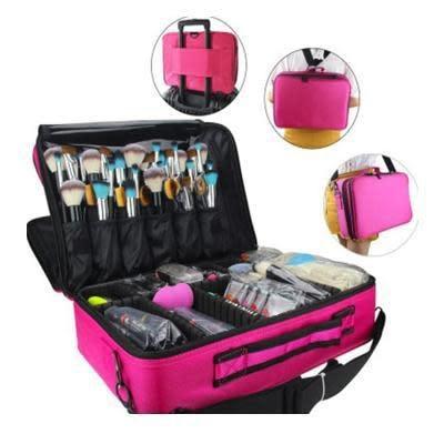 Iconix Hot Pink & Black Makeup Brushes Cosmetic Organizer Bag