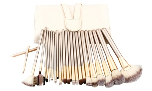 24 Piece Champagne Gold Makeup Brushes Set