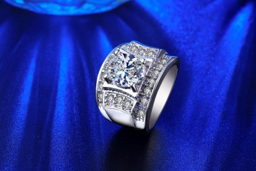 White Gold Filled Ring With 2ct Simulated Diamonds