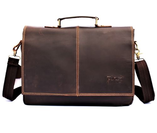 Superior 100% Genuine Full Grain Cow-Hide Leather Briefcase / Laptop Bag