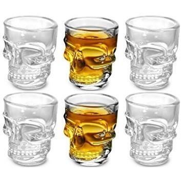 Skull Glass Combo 6 Shot Glasses + 1 x 500ml Shot Glass