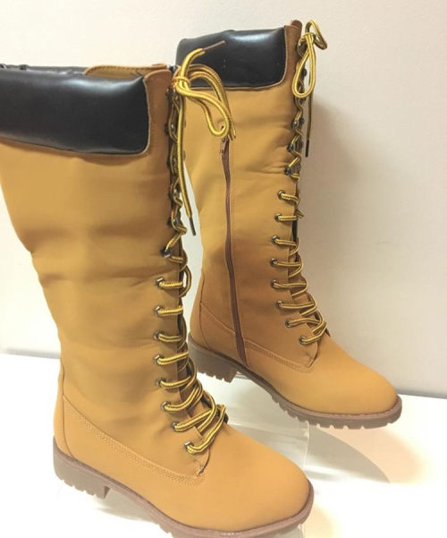 Ladies Long Tan Lace Up Boots