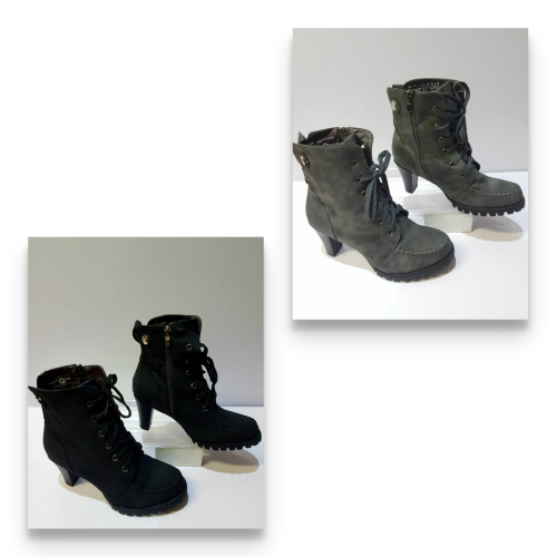 Ladies Short Ankle Suede Lace Up Boots