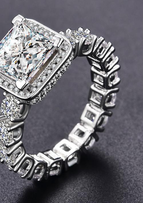 Classy Stylish Pave Set Simulated Diamond Band Ring