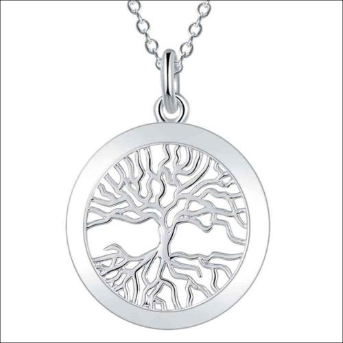 Silver Designer Tree of Life Flat Disc Necklace