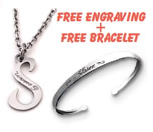 Initial Necklace - Stainless Steel + FREE BRACELET & ENGRAVING