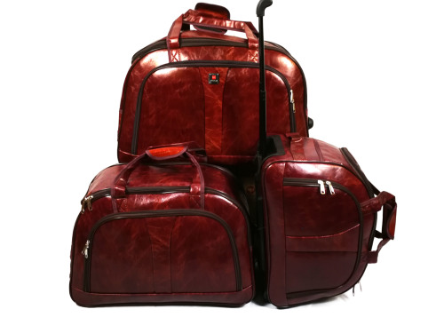 Set of 3 PU Leather Suitcases Travel Trolley Luggage