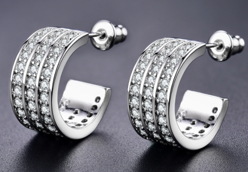 White Gold Filled Hoop Earrings With Simulated Diamonds